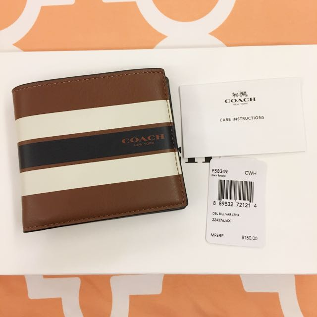 Coach Striped White Brown Wallet