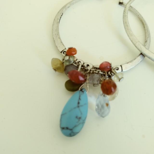 Colouful stone hoop earrings