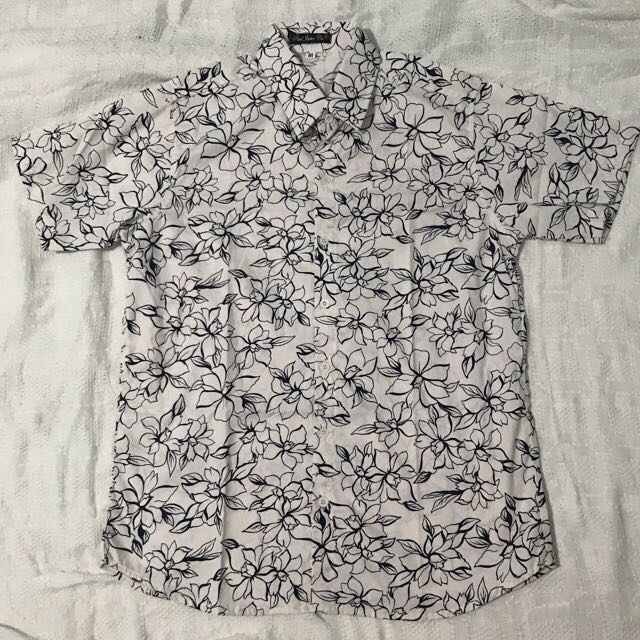 Cream Mens Floral Summer Button Down Polo