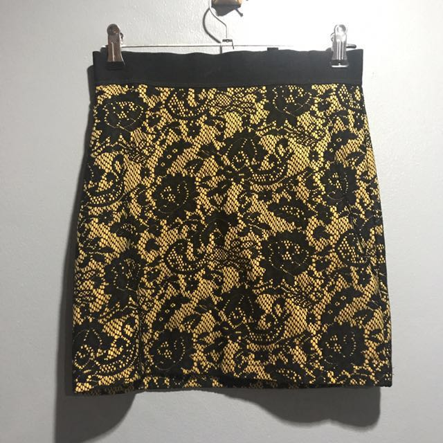 Divided H&M Yellow Bondage Skirt