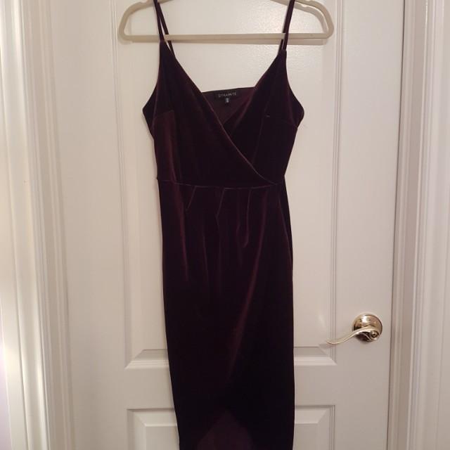 Dynamite Burgundy Velvet Wrap Dress
