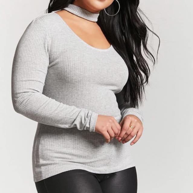 F21 Plus size choker top gray longsleeves (preorder)