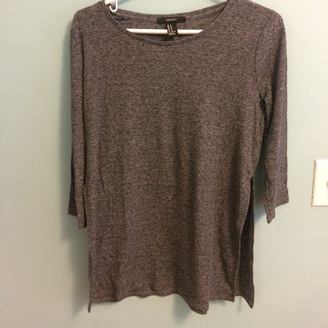 F21 side slit quarter sleeve shirt