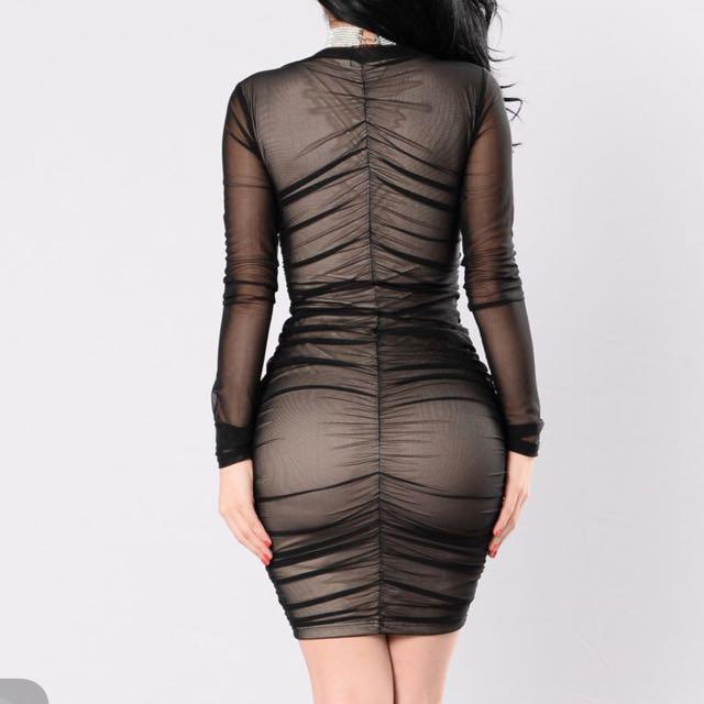 Fashion Nova Black Mesh Long Sleeve Dress