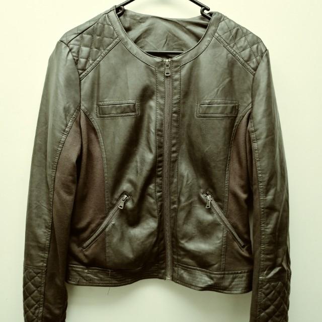 Faux leather gray waffle stitch jacket