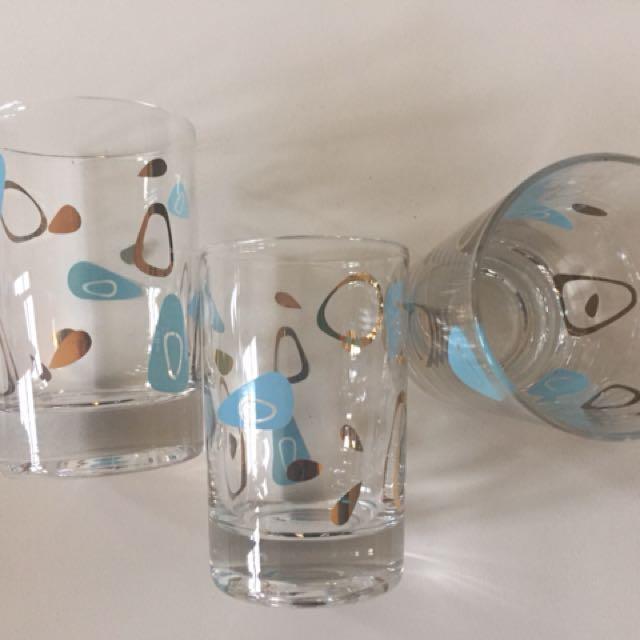 Federal Glass Amoeba Whiskey/Juice Glasses