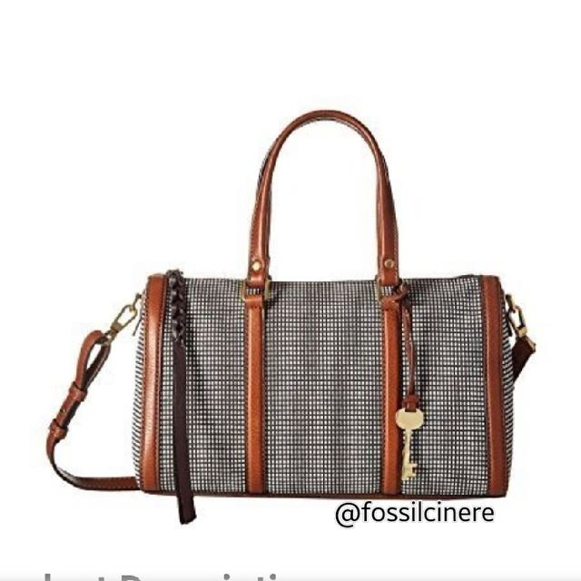 Fossil Kendall Satchel Black White