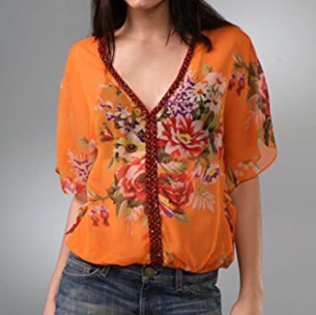 Free People Orange Floral Blouse Sz S