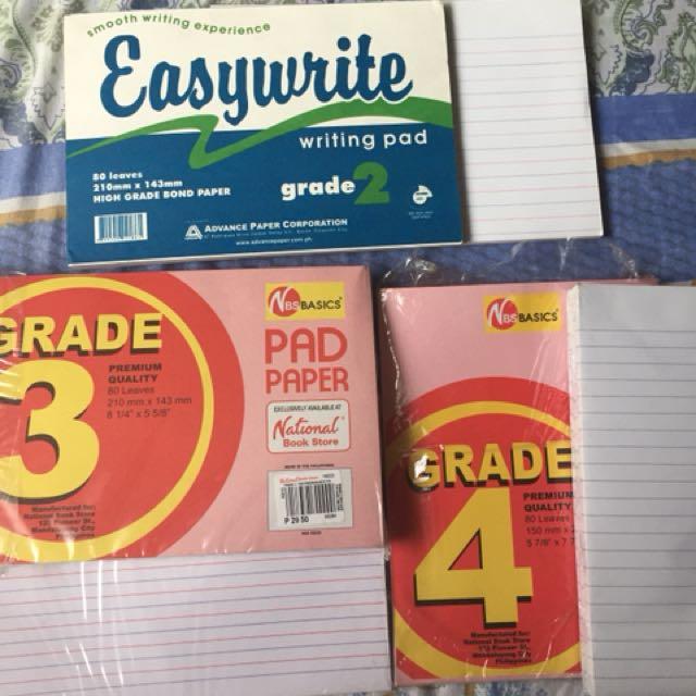 Grades 2,3,4 pad paper 80 leaves
