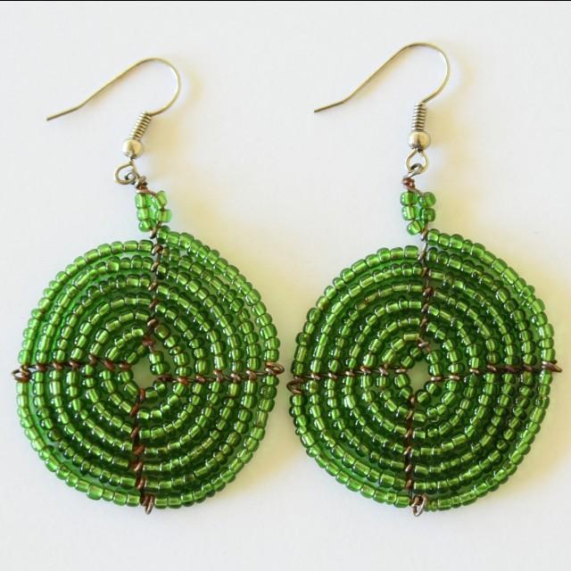 Green Afrix Earrings