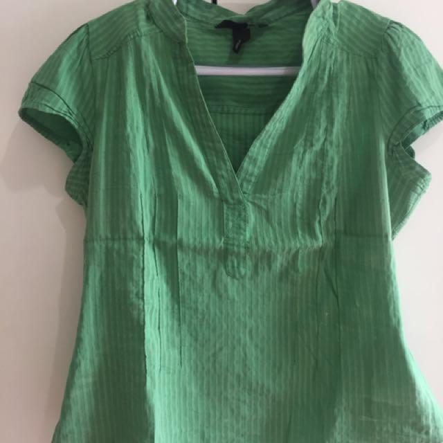 H&M Apple green plus size blouse
