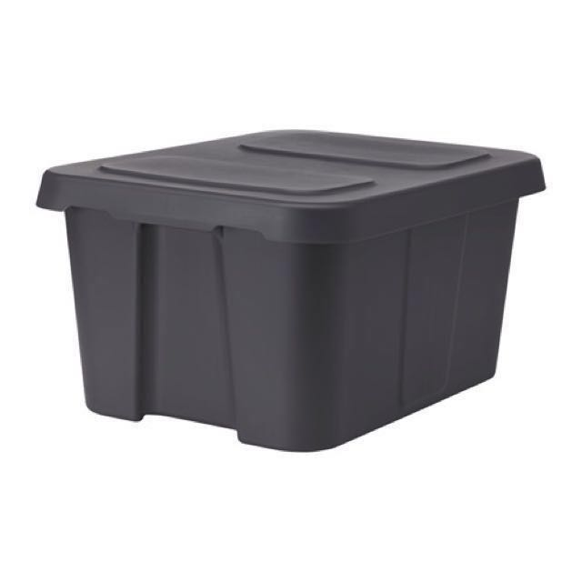Ikea Storage Box KlÄmtare With Lid In Outdoor Dark Grey