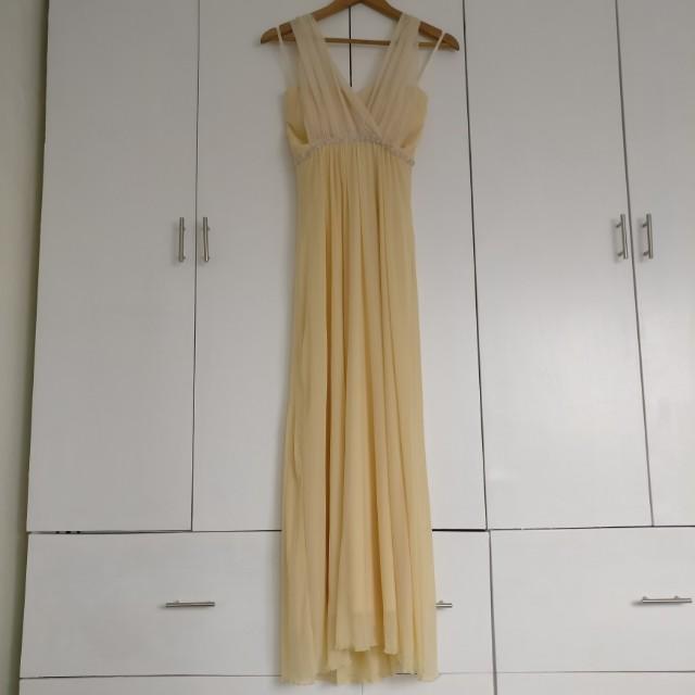 Light Yellow Long Formal Dress Gown