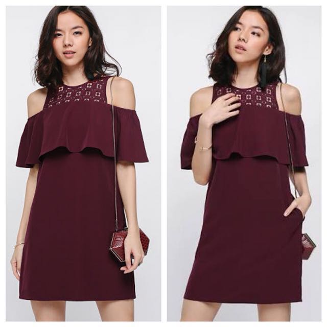 Love Bonito - Follaine Off Shoulder Dress in Maroon