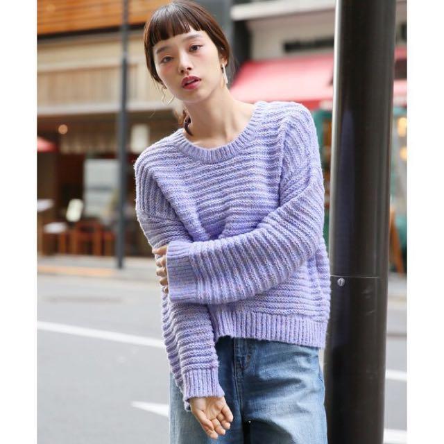 Lowrys farm 俏皮圓領彩色編織毛衣上衣 毛毛蟲彩虹長袖毛衣