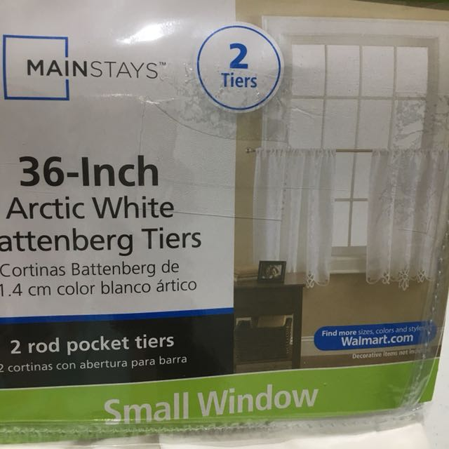 Mainstays 36-inch 2-tiers Arctic White Window Treatment