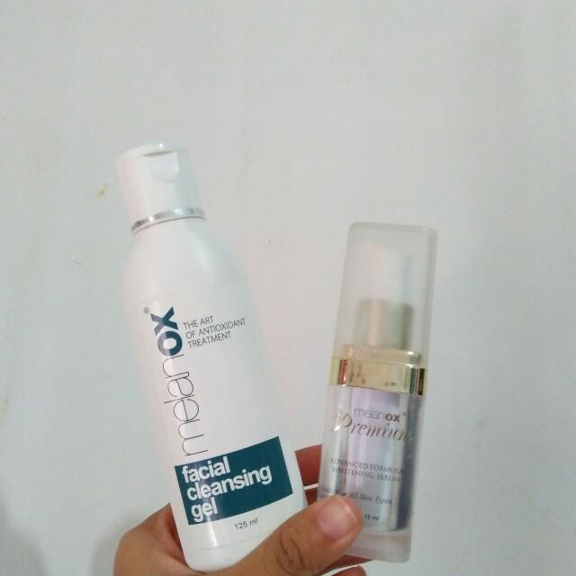 Melanox facial gel and serum