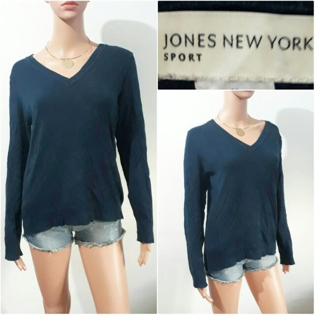 (M-L) Jones New York navy blue knitted sweater