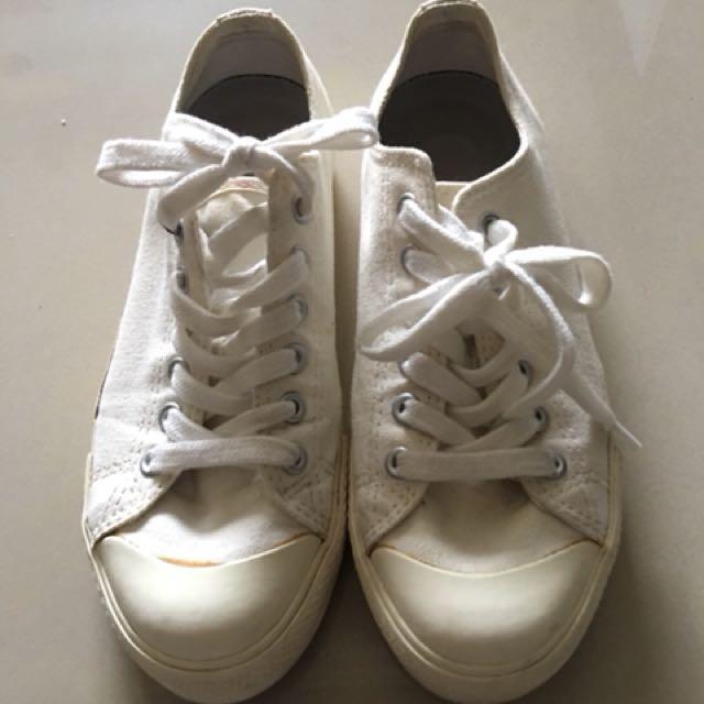 Muji 無印良品 白 帆布鞋 便鞋 23號