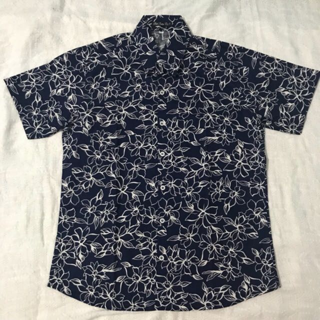 Navy Summer Floral Men's Button Down Polo