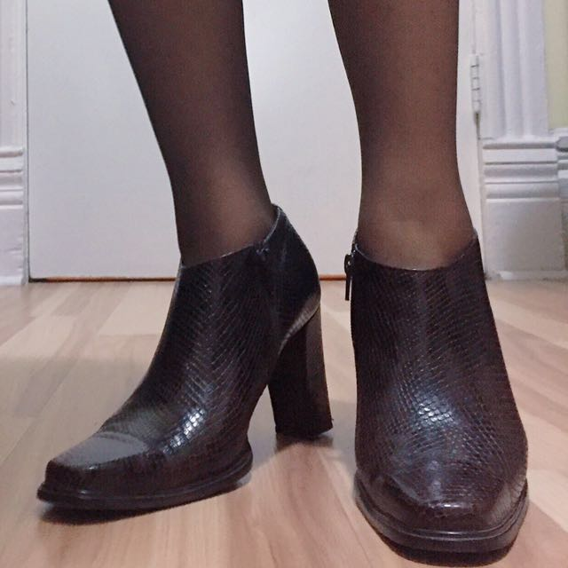 Nine West snakeskin leather ankle boots