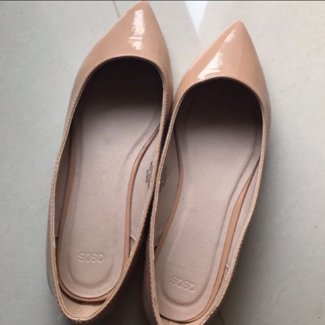 Nude pointed ladies flat shoes, Women's