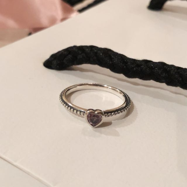 Pandora love heart ring with stone size 52