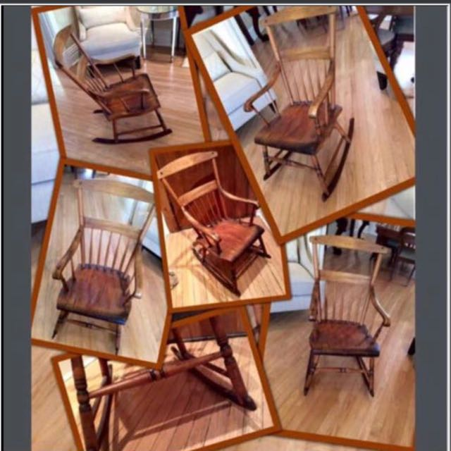 ✨✨PERFECT 🎁gift for🍼👶🏼Parents -To -Be✨ ✨Antique Muskoka maple rocking chair  from a multi-generational family summer cottage in Lake Rosseau,Muskoka,Ontario.(Circa mid-Late 1800's ) ✨