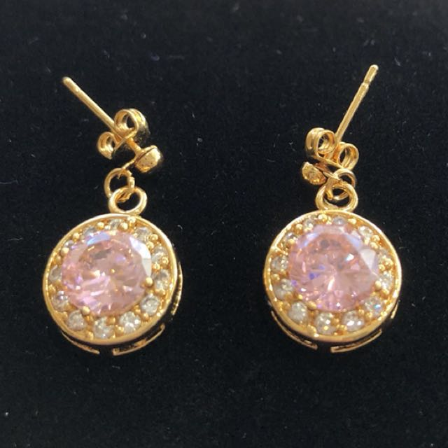 Pink 9ct plated earrings