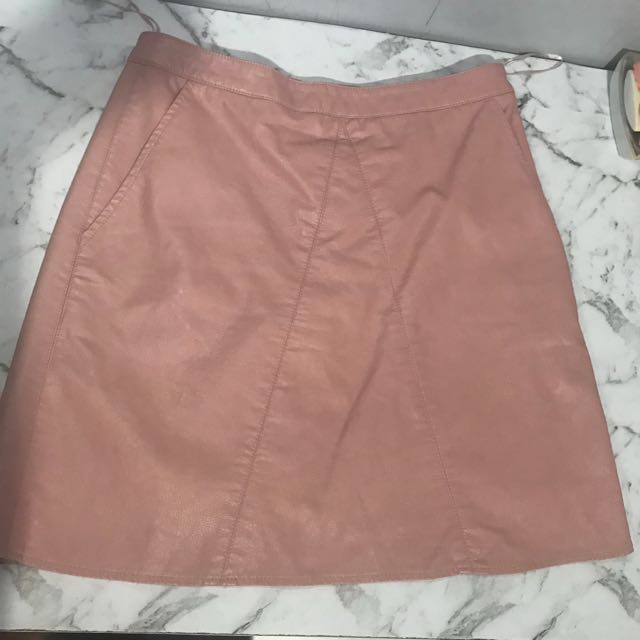 Pink pleather skirt