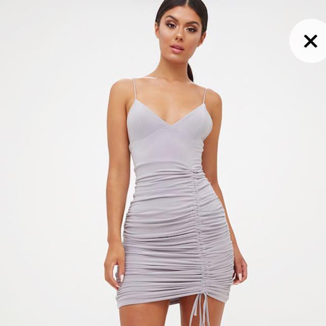 PrettyLittleThing Grey Ruched Mini Dress