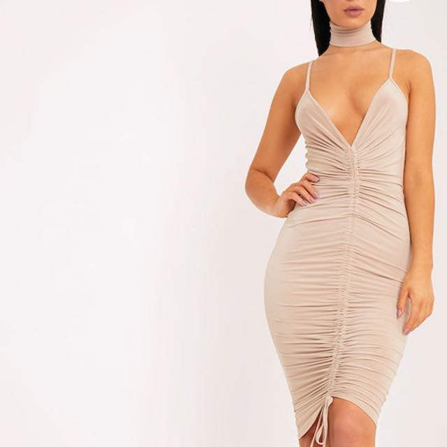 PrettyLittleThing Nude Beige Ruched Midi Dress