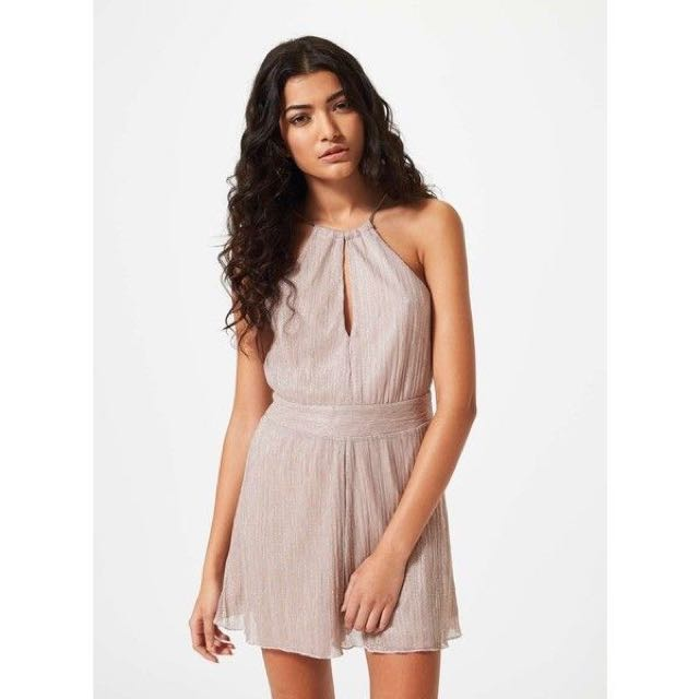 (PRICE REDUCED) Authentic Miss Selfridge Petites Dusty Blush Pink Shimmer Silver Chain Playsuit Romper Jumpsuit