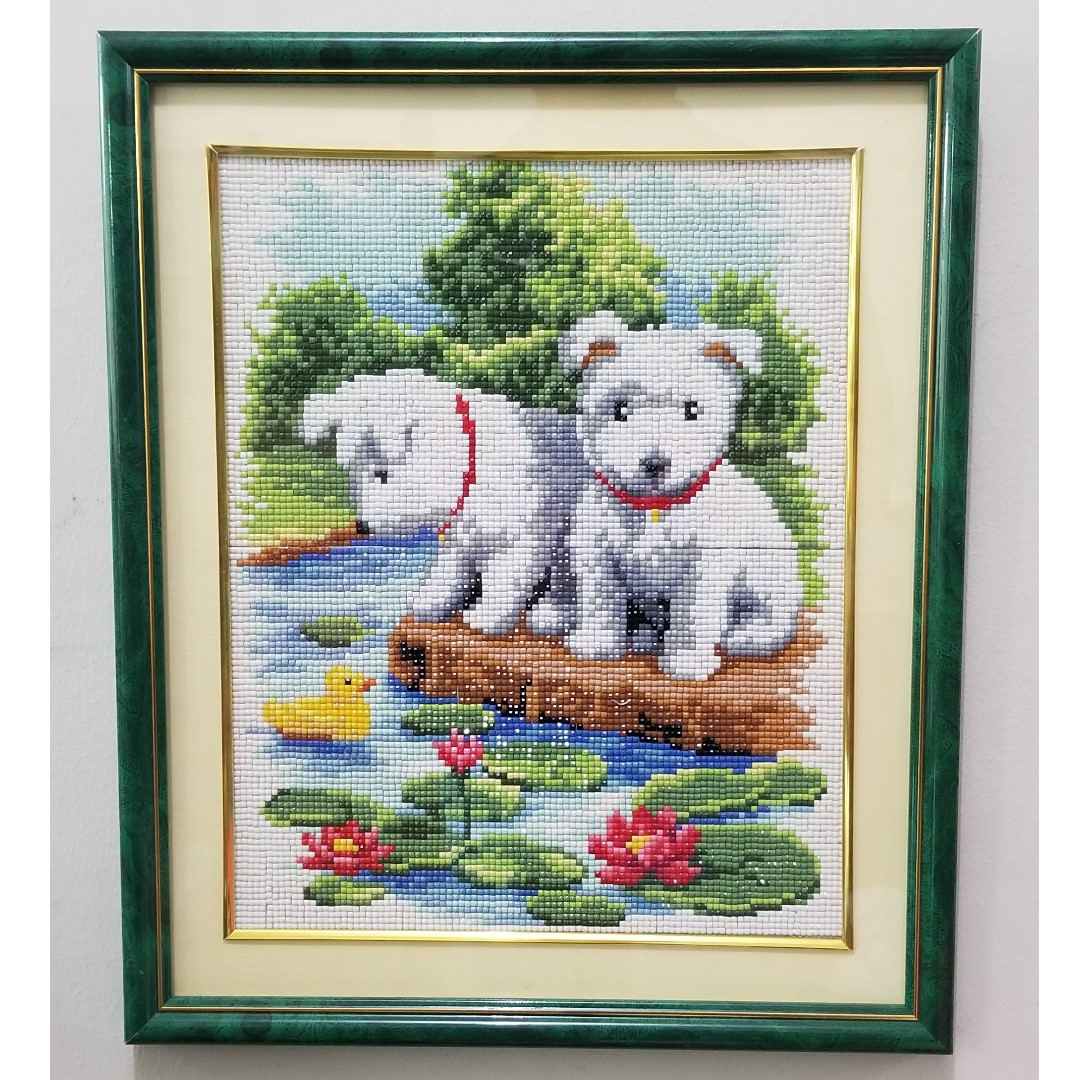 Framed Puppies Diamond Stitch