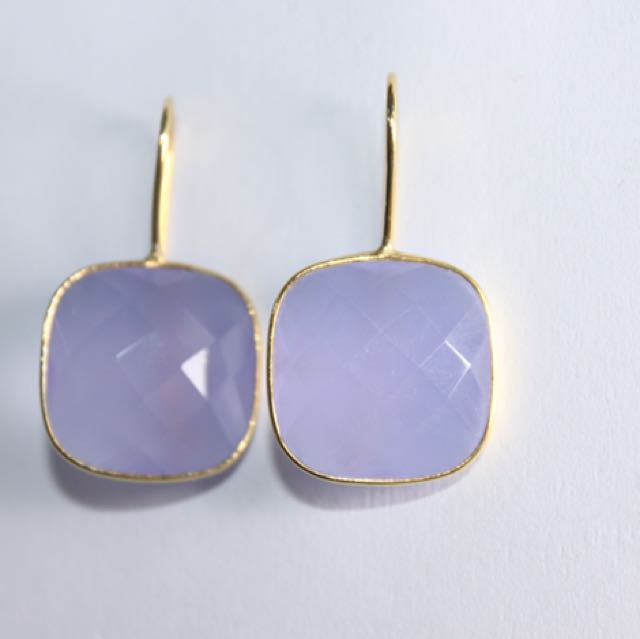 Purple Chalcedony in Gold Vermiel