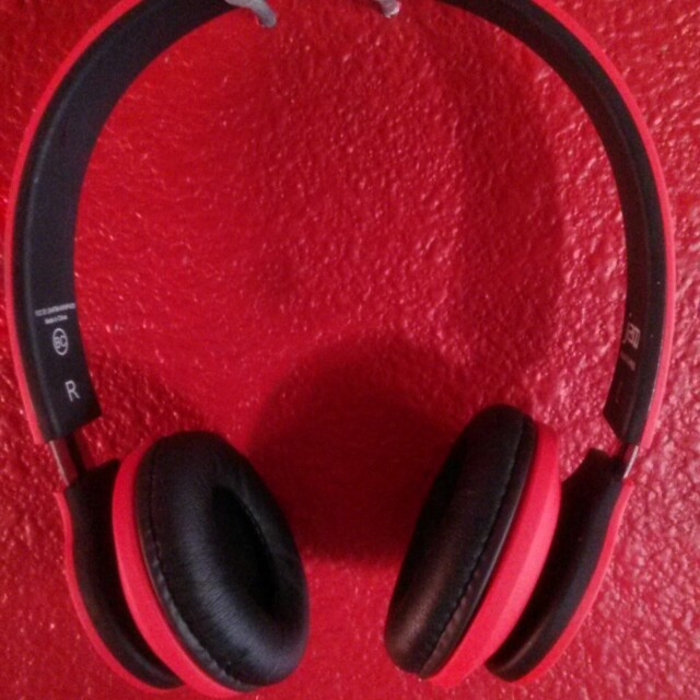 Red Wireless Bluetooth headphones
