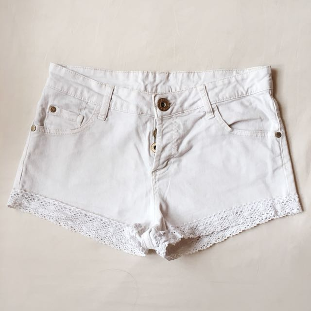 RIVER ISLAND Lace Denim Shorts