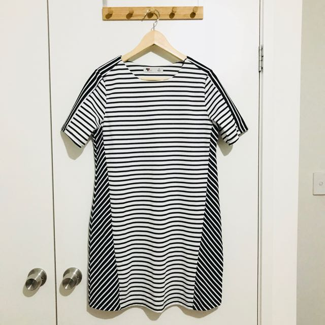 Temt Black and White Striped Dress
