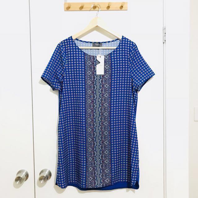 Temt Blue Patterned Top / Mini Dress