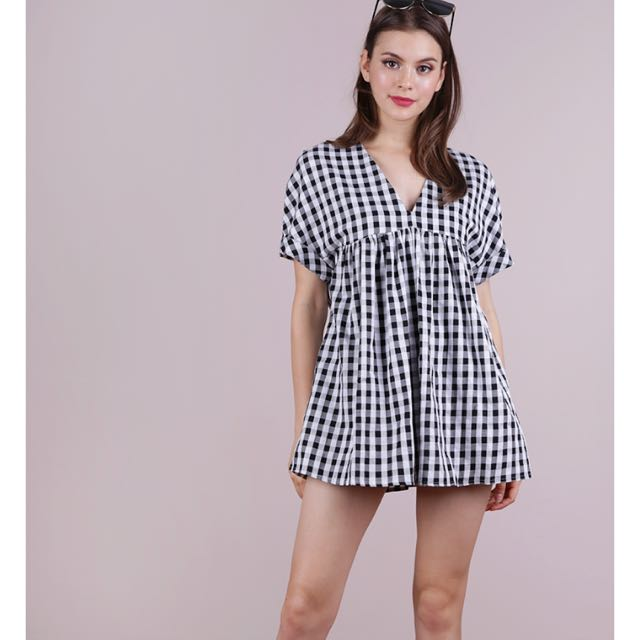 faeb9e8750c3 The Tinsel Rack Chelsea Babydoll Romper in Gingham
