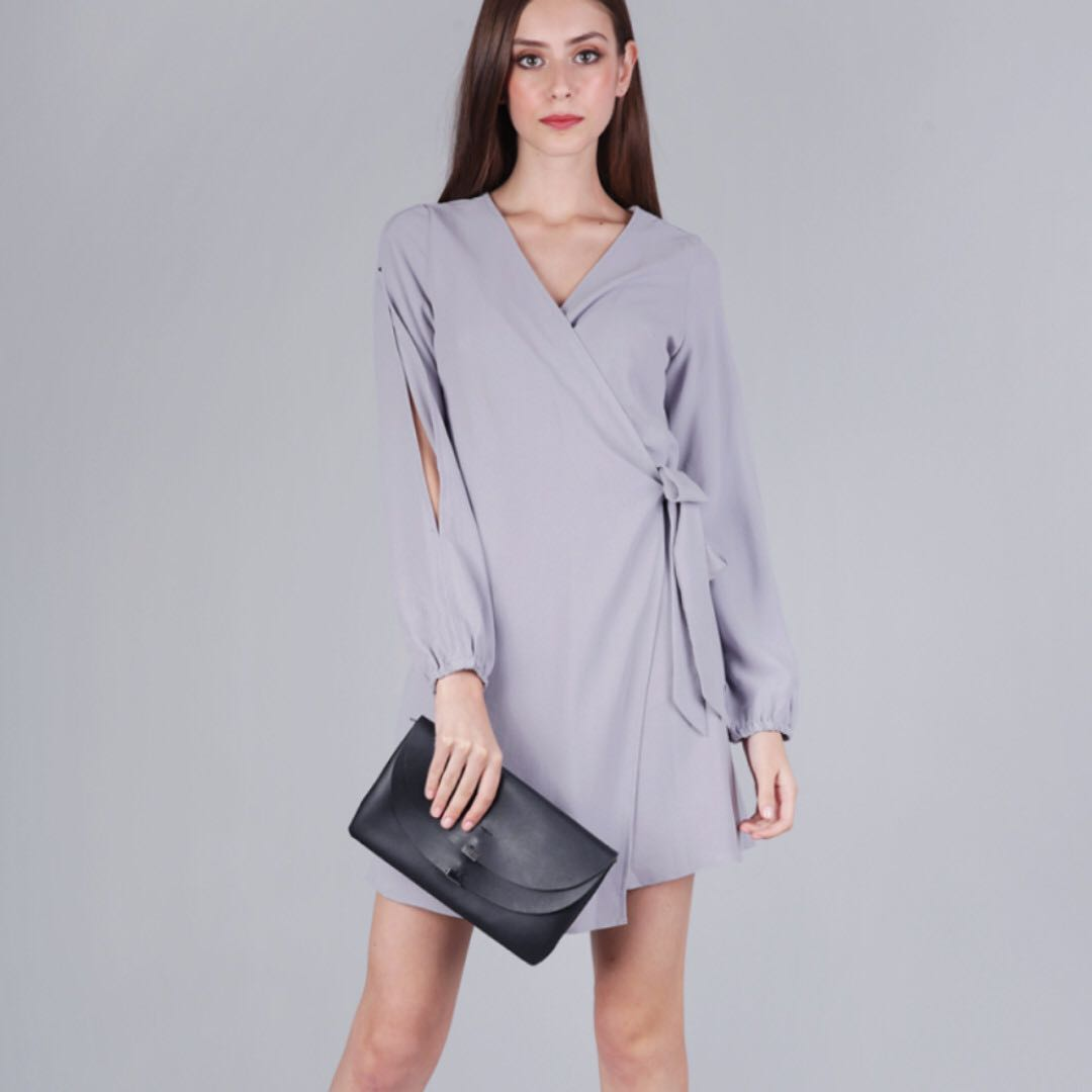 The Tinsel Rack TTR Sam Split Sleeve Dress (Lilac Grey)