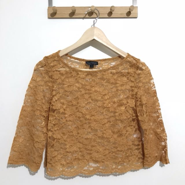 Topshop 3/4 Sleeves Mustard Lace Top