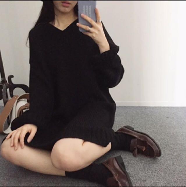 長版v領針織毛衣