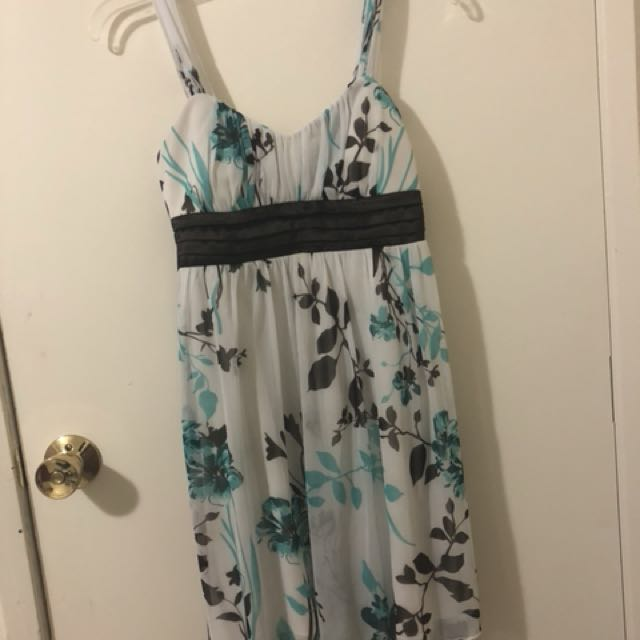 White/blue/brown dress size small for girls
