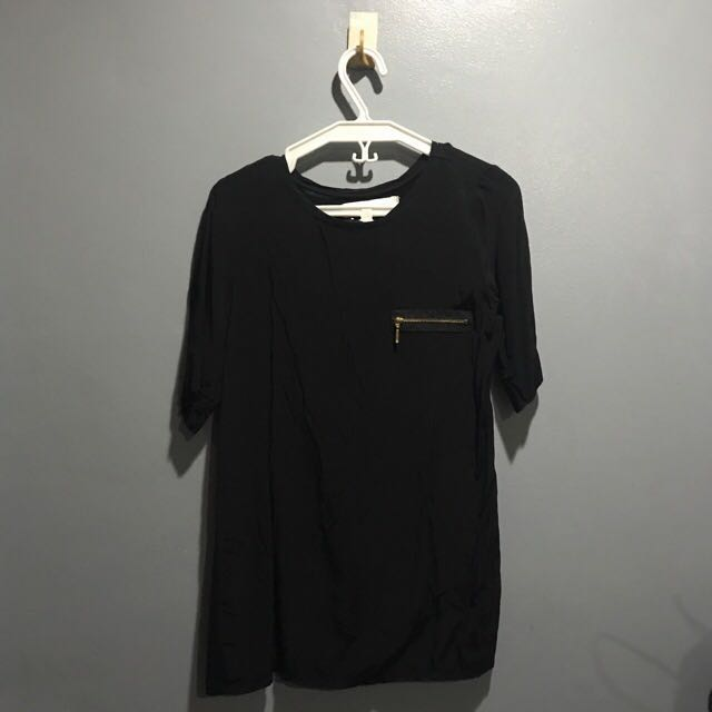 Zara Collection Black Top With Zipper Accent