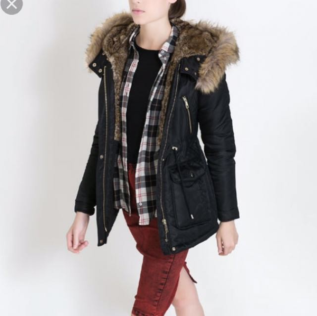 ZARA parka with leather details S