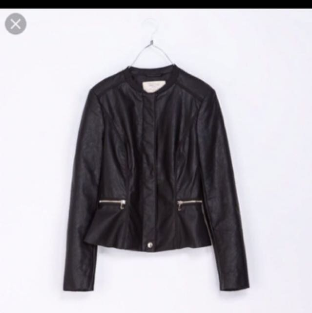 Zara peplum leather jacket