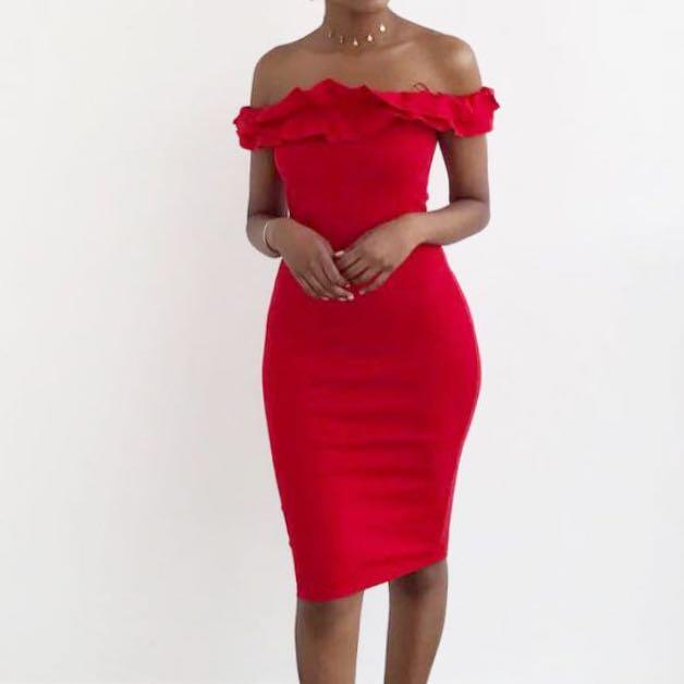 Zara Red Off The Shoulder Dress