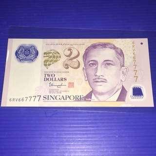 Singapore Portrait $2 Super Fancy No. 6RV667777