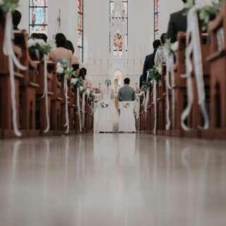 Church pew decor